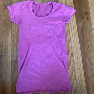 pink lulu lemon short sleeve top